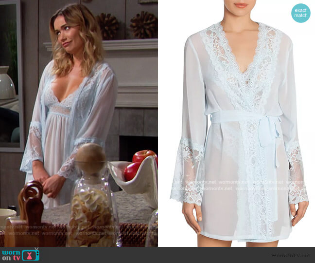 Lace-Trim Wrap Robe by In Bloom by Jonquil worn by Florence (Katrina Bowden) on The Bold & the Beautiful