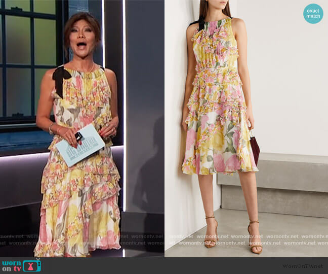 Grosgrain-trimmed ruffled floral-print silk-crepon dress by Jason Wu worn by Julie Chen  on Big Brother