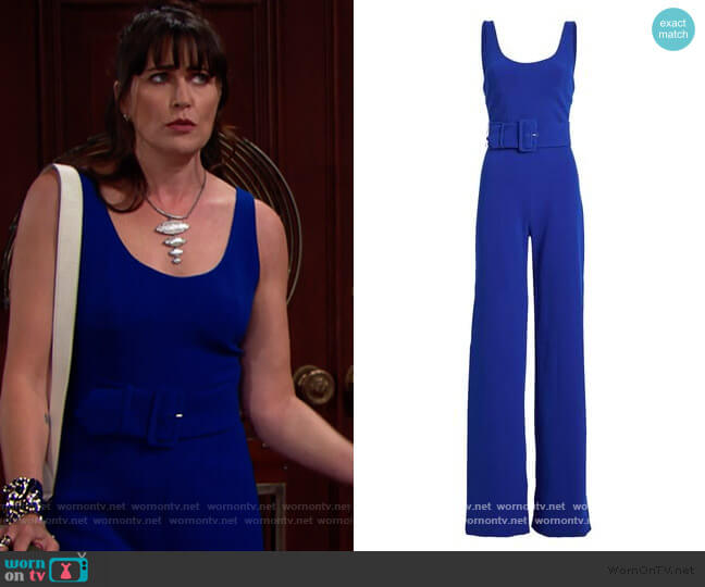 Belted Crepe Wide Leg Jumpsuit by Jonathan Simkhai worn by Quinn Fuller (Rena Sofer) on The Bold & the Beautiful