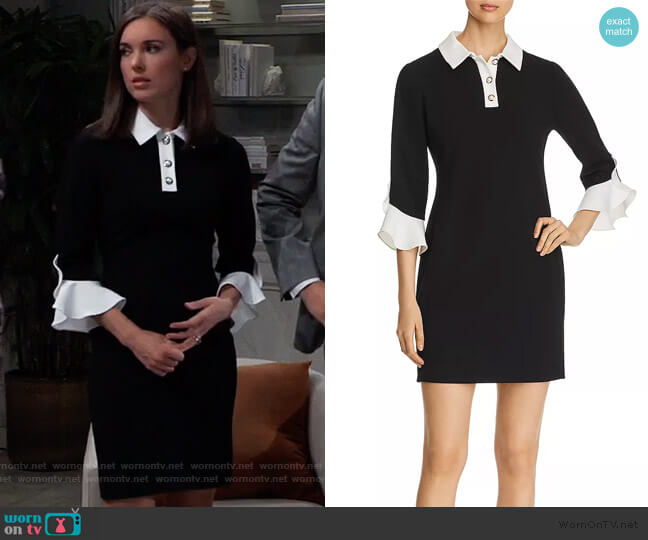Layered-Look Sheath Dress by Karl Lagerfeld Paris worn by Willow Tait (Katelyn MacMullen) on General Hospital