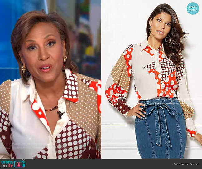 Kelsey Blouse - Eva Mendes Collection by New York & Company worn by Robin Roberts  on Good Morning America
