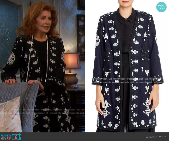 Aster Embroidered Open Coat by Kobi Halperin worn by Maggie Horton (Suzanne Rogers) on Days of our Lives