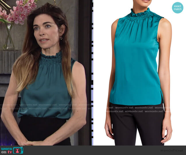 Remi Sleeveless Ruffled Silk Blend Top by Kobi Halperin worn by Victoria Newman (Amelia Heinle) on The Young & the Restless