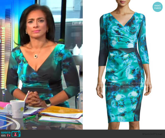 3/4-Sleeve Ruched Floral Cocktail Dress by La Petite Robe di Chiara Boni worn by Michelle Miller  on CBS This Morning