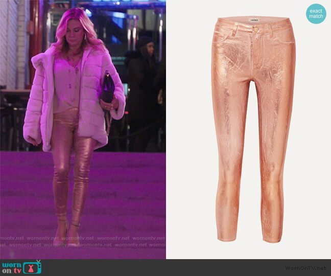 Margot metallic coated high-rise skinny jeans by L'agence worn by Ramona Singer  on The Real Housewives of New York City