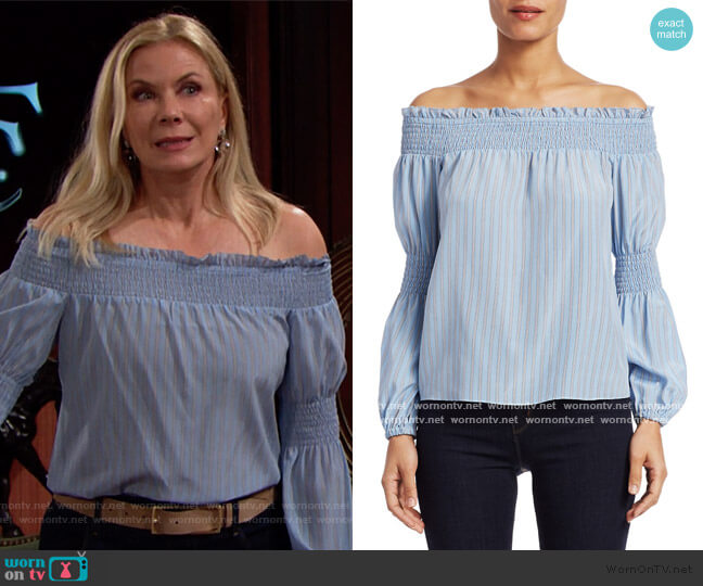 Mona Stripe Silk Off-The-Shoulder Blouse by L'Agence worn by Brooke Logan (Katherine Kelly Lang) on The Bold & the Beautiful