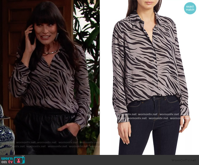 Nina Zebra Print Blouse by L'Agence worn by Quinn Fuller (Rena Sofer) on The Bold & the Beautiful
