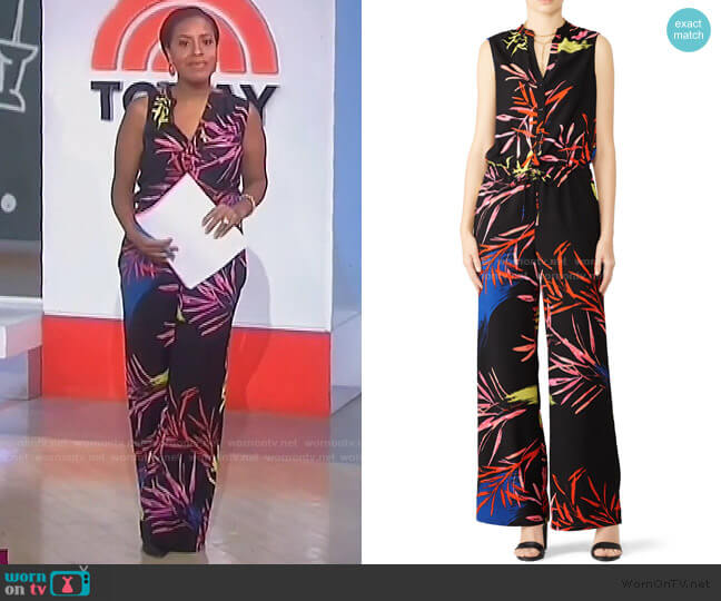 Leaf Print Jumpsuit by N Natori worn by Sheinelle Jones  on Today
