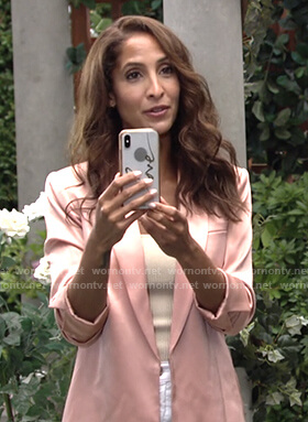 Lily's pink satin jacket on The Young and the Restless