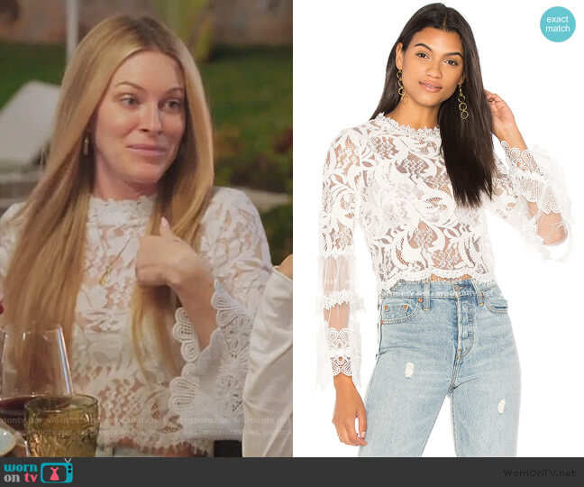 Chancellor Lace Top by Lioness worn by Leah McSweeney  on The Real Housewives of New York City