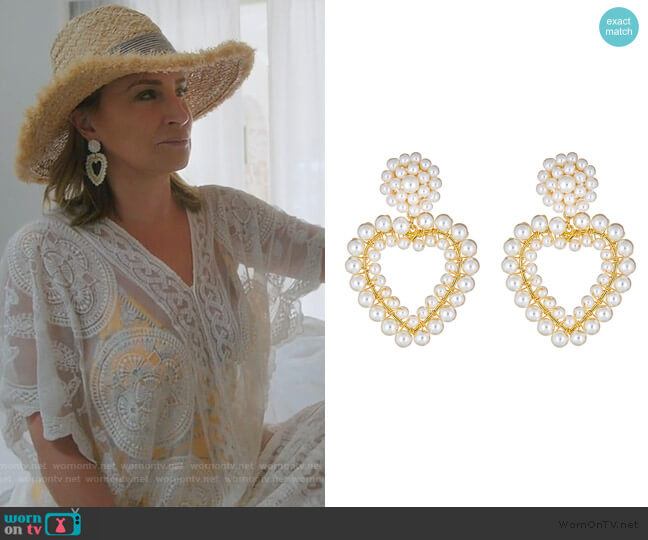 Roxy Heart Pearl Earrings by Lisi Lerch worn by Sonja Morgan  on The Real Housewives of New York City