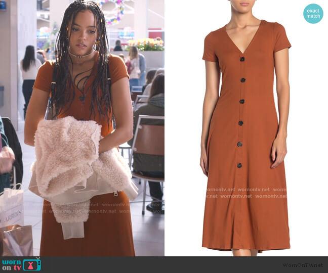 V-Neck Button Front Jersey Midi Dress by Love, Fire worn by Tabitha Foster (Quintessa Swindell) on Trinkets