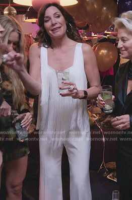 Sonja's green leaf sequined dress on The Real Housewives of New York City