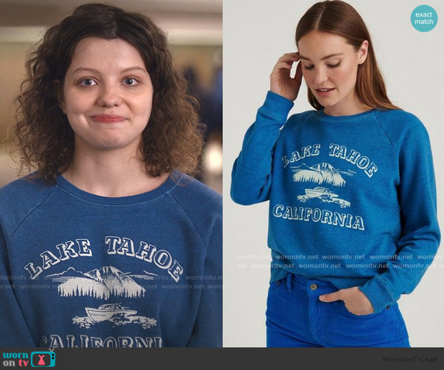 Lake Tahoe Crew Pullover by Lucky Brand worn by Chloe Levine on Trinkets
