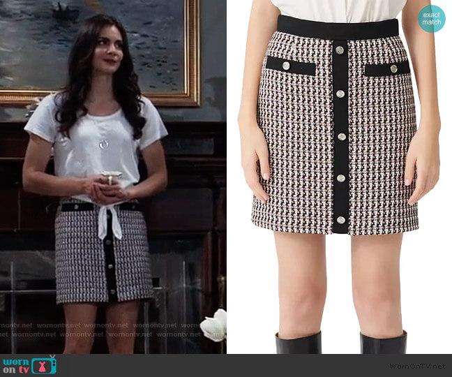 Jivi Tweed Mini Skirt by Maje worn by Brook Lynn Quartermaine (Briana Lane) on General Hospital