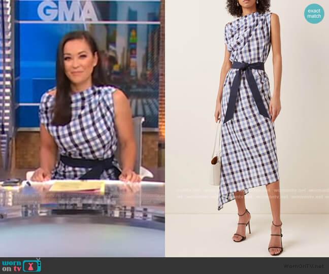 Asymmetrical Checked Cotton-Linen Midi Dress by Martin Grant worn by Eva Pilgrim  on Good Morning America