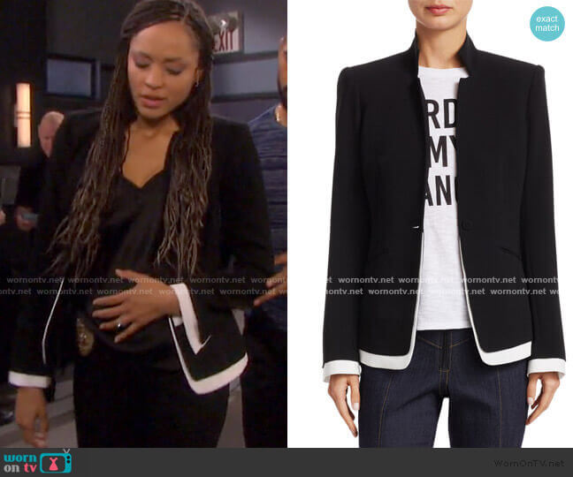 Maxine Contrast Trim Blazer by Cinq a Sept worn by Lani Price (Sal Stowers) on Days of our Lives