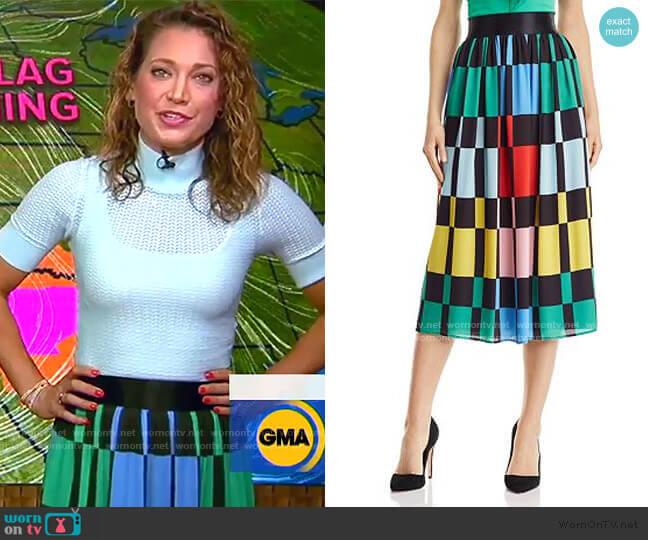 Melda Geometric Print Midi Skirt by Alice + Olivia worn by Ginger Zee  on Good Morning America