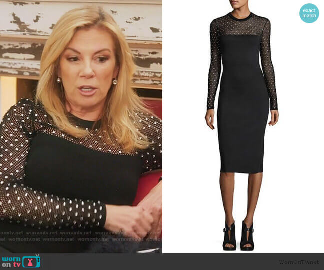 Crystal Trimmed Mesh Yoke Sheath Dress by Michael Kors worn by Ramona Singer  on The Real Housewives of New York City