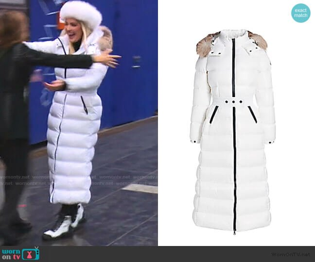 Hudson Fox Fur-Trim Long Puffer Coat by Moncler worn by Erika Girardi  on The Real Housewives of Beverly Hills