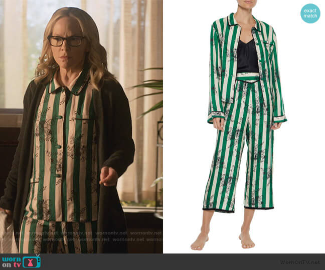 Ruthie striped satin-twill pajama shirt and pants by Morgan Lane worn by Linda Martin (Rachael Harris) on Lucifer