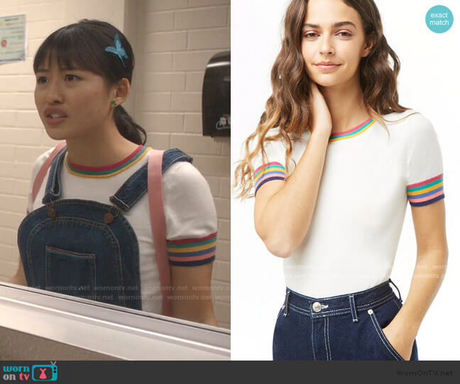 Multicolor Striped-Trim Knit Top by Forever 21 worn by Rachelle Cohen-Strauss (Haley Tju) on Trinkets