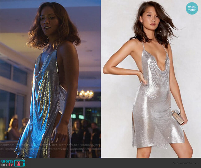 You've Got Chainmail Cowl Dress by Nasty Gal worn by Mazikeen (Lesley-Ann Brandt) on Lucifer