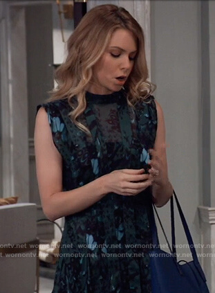 Nelle's teal floral asymmetric dress on General Hospital