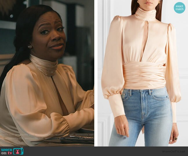 Night Out open-back ruched satin blouse by  Orseund Irus worn by kandi burruss on The Chi