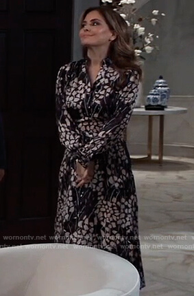 Olivia's black floral wrap dress on General Hospital