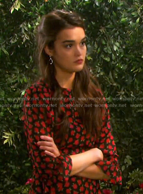 Paige's black and red floral dress on Days of our Lives