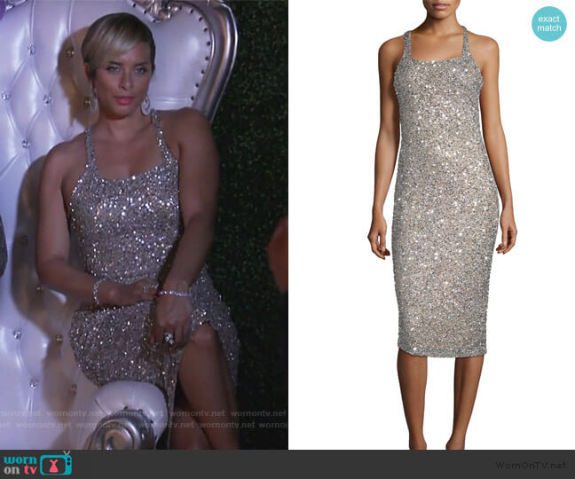 Sage Sleeveless Sparkle Dress by Parker Black worn by Robyn Dixon  on The Real Housewives of Potomac