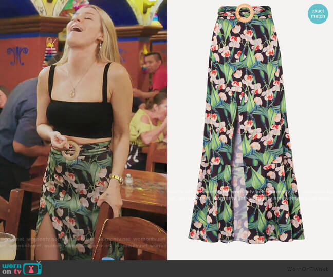 Belted wrap-effect floral-print crepe maxi skirt by Patbo worn by Leah McSweeney  on The Real Housewives of New York City