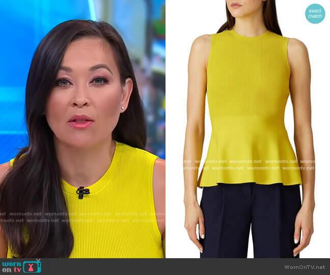 Peplum Top by Theory worn by Eva Pilgrim  on Good Morning America