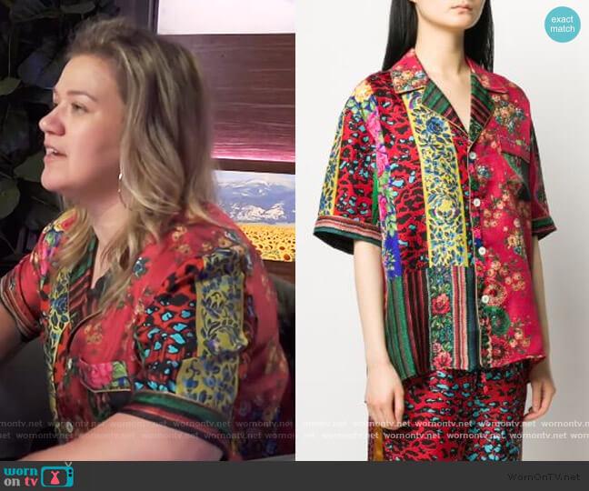 Aloeuw mixed-print silk shirt by Pierre-Louis Mascia worn by Kelly Clarkson  on The Kelly Clarkson Show