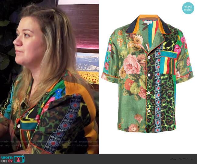 Aloeuw mixed-print silk shirt by Pierre-Louis Mascia worn by Kelly Clarkson  on The Kelly Clarkson Show