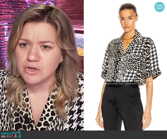Aloeuw Mixed Print Shirt by Pierre-Louis Mascia worn by Kelly Clarkson  on The Kelly Clarkson Show