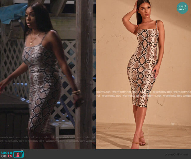 Snake Print Strappy Midi Dress by Pretty Little Thing worn by Wendy Osefo  on The Real Housewives of Potomac