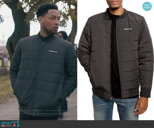 Hadley Bomber Jacket by Primative worn by Emmett (Jacob Latimore) on The Chi