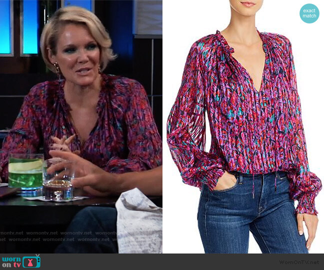 Printed Leaf Luanne Top by Ramy Brook worn by Ava Jerome (Maura West) on General Hospital