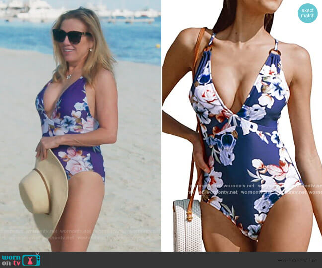 Blue Floral Strappy Swim Suit by Cupshe worn by Ramona Singer  on The Real Housewives of New York City