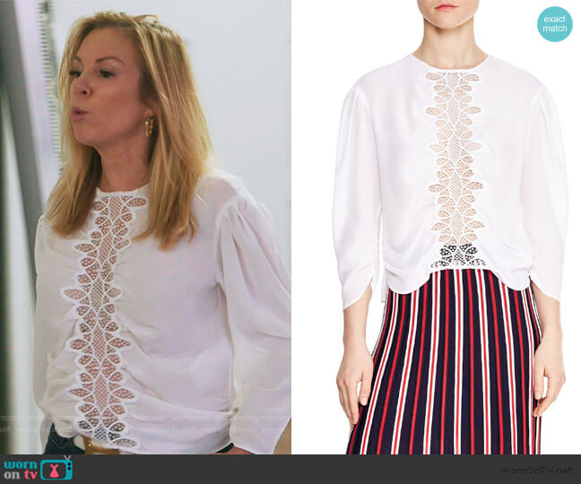 Antonin Silk Blouse by Sandro worn by Ramona Singer  on The Real Housewives of New York City