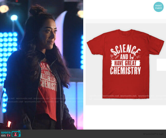 Science And I Have Great Chemistry T-Shirt by thingsandthings at Teepublic worn by Ella Lopez (Aimee Garcia) on Lucifer