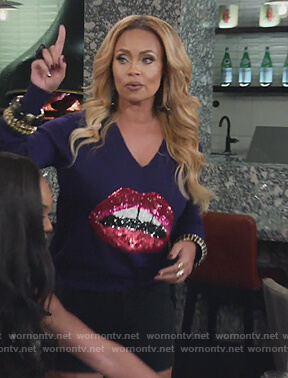 Gizelle purple lip sequin sweater on The Real Housewives of Potomac