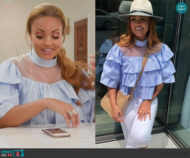 Blue Ruffle Blouse by Sevyn Stitches by KSW worn by Gizelle Bryant  on The Real Housewives of Potomac