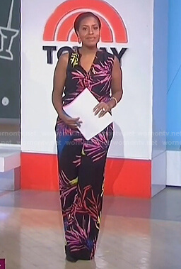 Sheinelle's black leaf print jumpsuit on Today