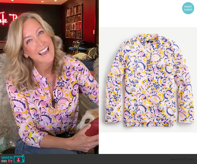 Silk Tunic in Paisley Swirl by J. Crew worn by Lara Spencer  on Good Morning America