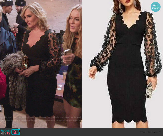 Floral Mesh Sleeve Dress by Sonja worn by Sonja Morgan  on The Real Housewives of New York City