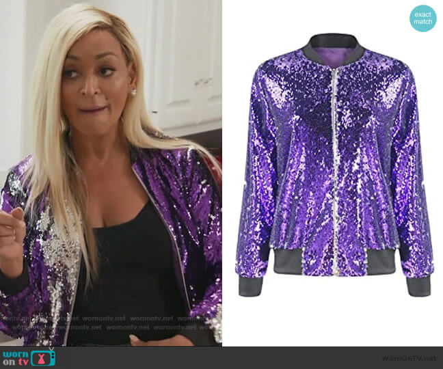 Sparkle Mermaid Sequin Long Sleeve Zipper Front Bomber Jacket by Asmax worn by Karen Huger  on The Real Housewives of Potomac