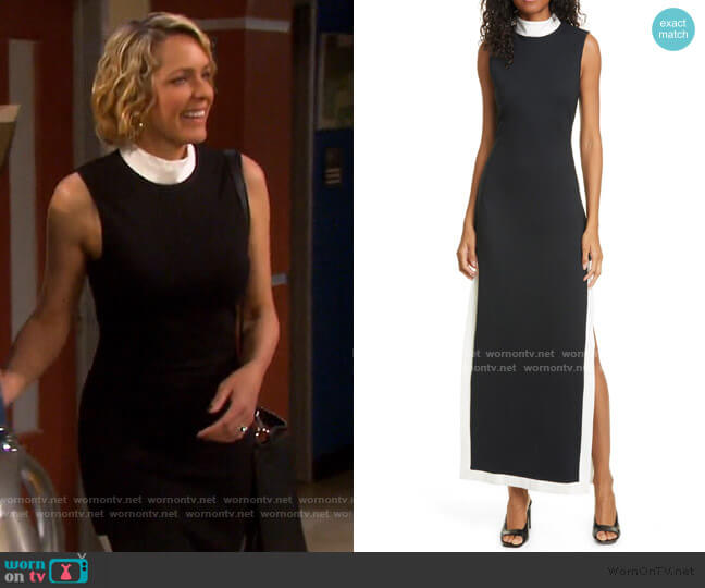 Noir Contrast Trim Mock Neck Maxi Dress by Staud worn by Nicole Walker (Arianne Zucker) on Days of our Lives